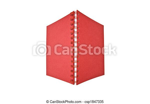 quaderno, aperto, rosso - csp1847335