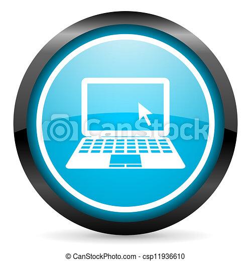 quaderno blu, lucido, fondo, cerchio, bianco, icona - csp11936610