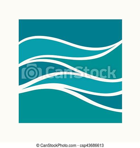 quadrado, abstratos, aqua, onda, água, logotipo, icon., design. - csp43686613