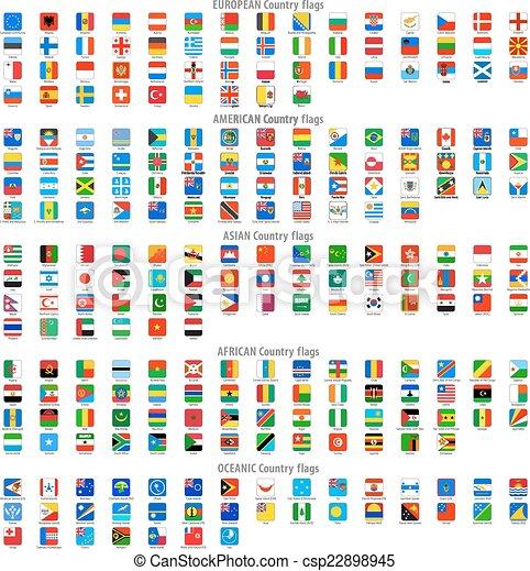 quadrado, arredondado, ícones, bandeira nacional, vetorial - csp22898945