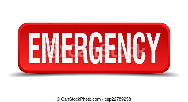 quadrado, botão emergência, isolado, fundo, branco vermelho, 3d - csp22789258