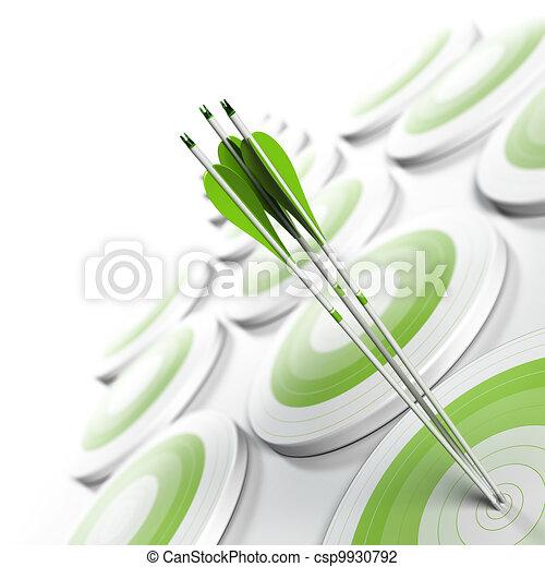 quadrado, efeito, competitivo, estratégico, format., alvos, vantagem, concept., três, enfraquecendo, borrão, branca, imagem, negócio, alcançar, marketing, centro, muitos, setas, verde, objetivo, ou - csp9930792