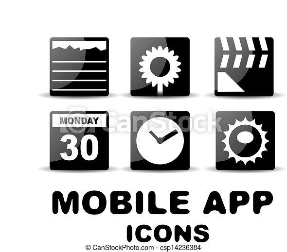 quadrat, heiligenbilder, beweglich, app, schwarz, glänzend - csp14236384