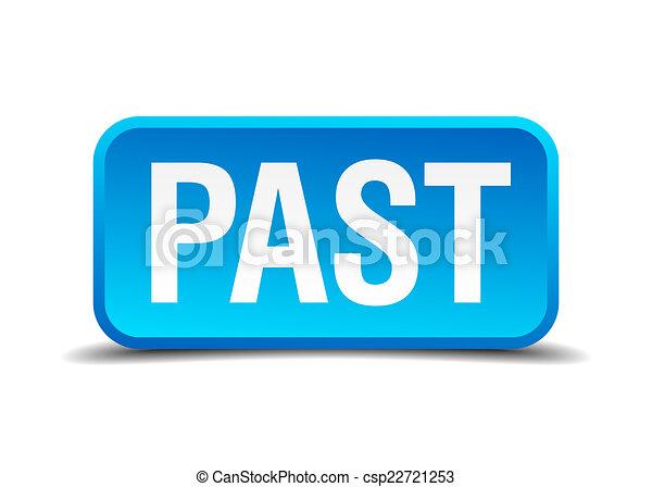 quadrato blu, bottone, isolato, passato, realistico, 3d - csp22721253