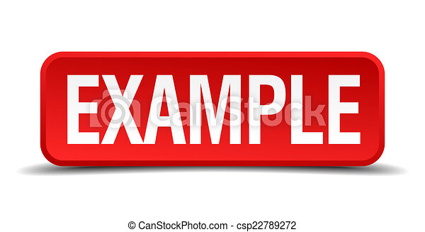quadrato, bottone, isolato, fondo, bianco, esempio, rosso, 3d - csp22789272