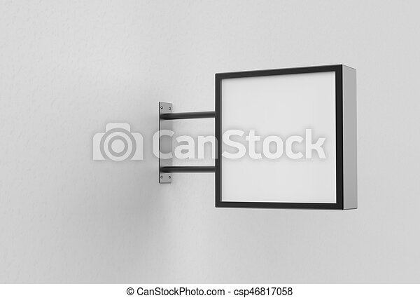 quadrato, cartello, wall., bianco, illustrating., 3d - csp46817058