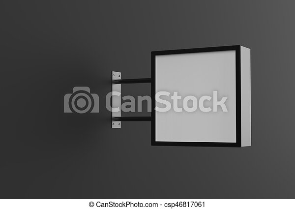 quadrato, cartello, wall., nero, illustrating., 3d - csp46817061