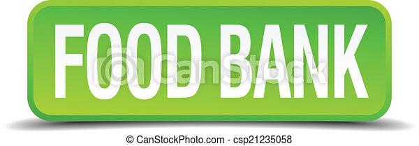 quadrato, cibo, bottone, isolato, realistico, verde, banca, 3d - csp21235058