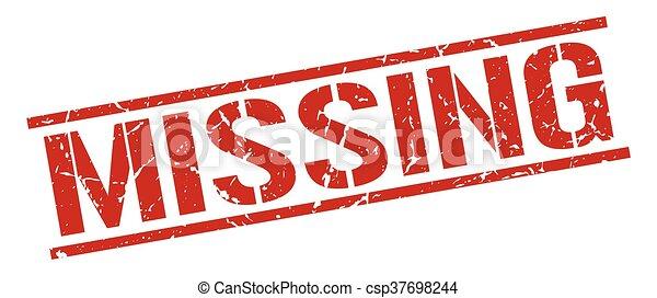 quadrato, grunge, mancante, francobollo, vendemmia, gomma, rosso - csp37698244