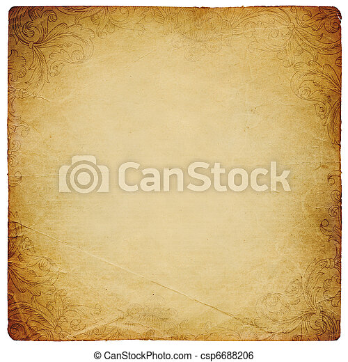 quadrato, modellato, vendemmia, sheet., isolato, ornated, carta, white. - csp6688206