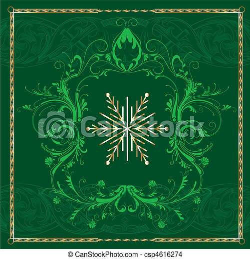 quadrato, verde, fiocco di neve - csp4616274