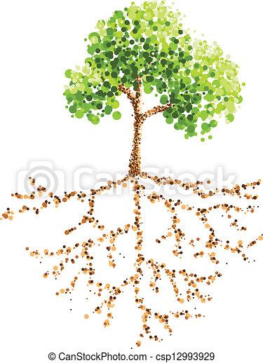 quadro, árvore, ponto, raiz - csp12993929