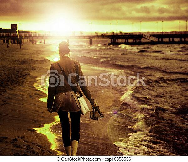 quadro, andar, mulher, arte, litoral, jovem - csp16358556