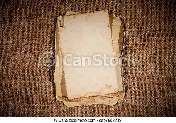 quadro, burlap, sobre, textura, fotografias, modelo, antigas, seu, grupo - csp7682219