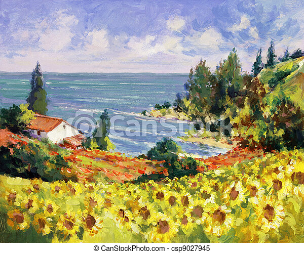 quadro, mar, paisagem - csp9027945