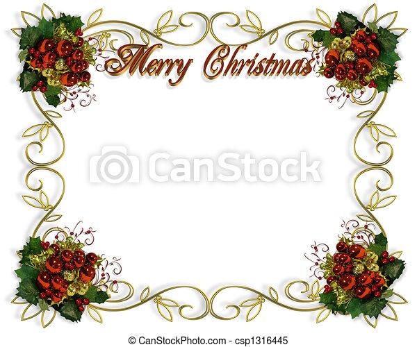 quadro, natal, borda, elegante - csp1316445