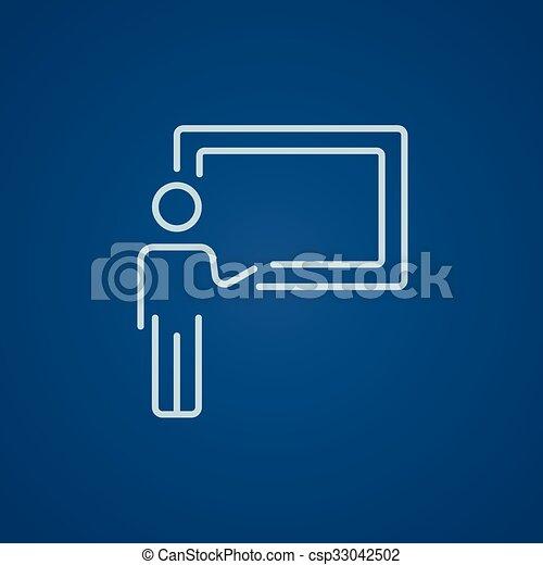 quadro-negro, professor, linha, icon., apontar - csp33042502