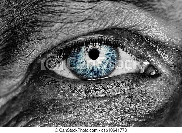quadro, olho, human, monocromático - csp10641773