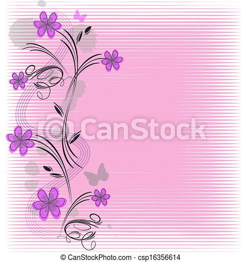 quadro, vetorial, flores - csp16356614
