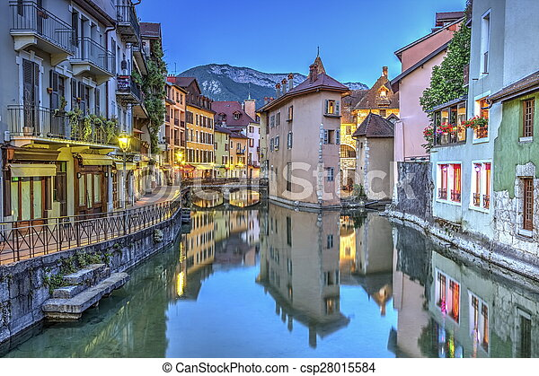 Quai de l'Ile and canal in Annecy old city, France, HDR - csp28015584