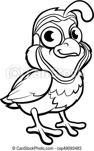 Quail Bird Cartoon Character A Quail Bird Cute Cartoon Character