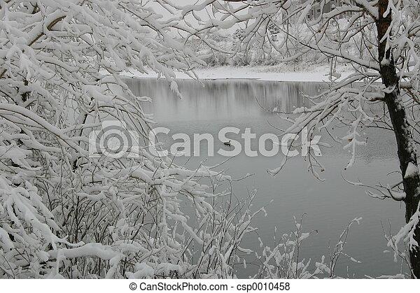 Quail Lake in Snow - csp0010458