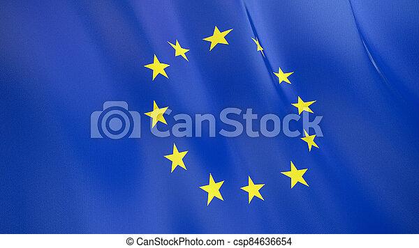 qualité, union., élevé, drapeau, illustration, européen, render., soie, 3d, onduler - csp84636654