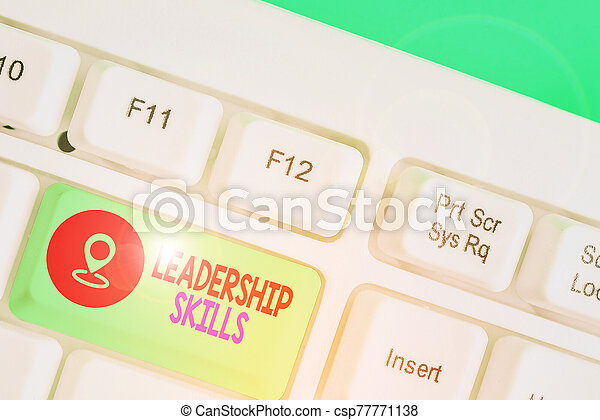 qualities, showcasing, escritura, liderazgo, foto, actuación, habilidades, lead., poseer, líderes, nota, skills., empresa / negocio, toma - csp77771138
