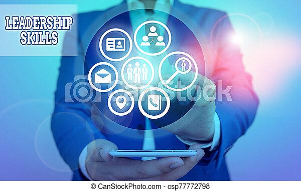 qualities, showcasing, escritura, liderazgo, foto, actuación, habilidades, lead., poseer, líderes, nota, skills., empresa / negocio, toma - csp77772798