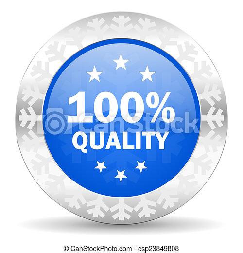 quality blue icon, christmas button - csp23849808