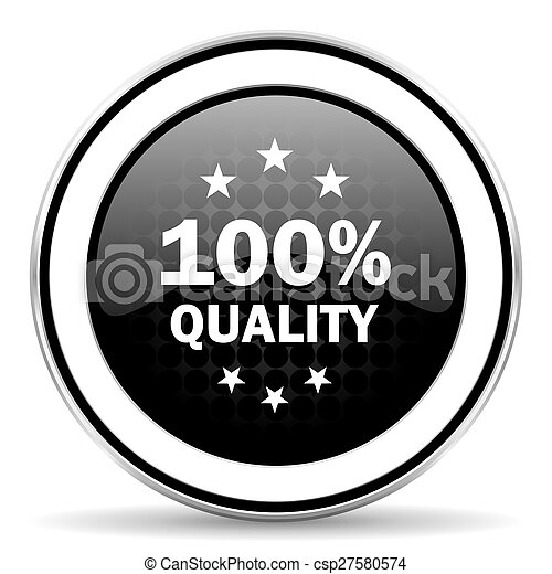 quality icon, black chrome button - csp27580574