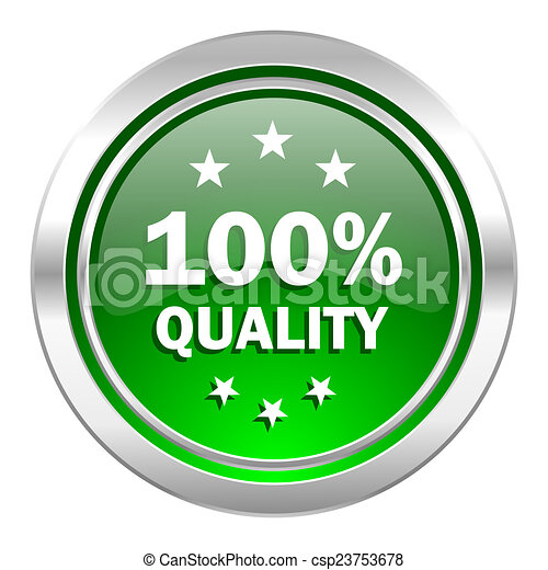 quality icon, green button - csp23753678