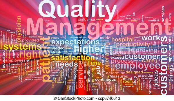 Quality management background concept glowing - csp6748613