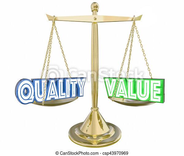 Quality vs value best product scale balance 3d illustration.