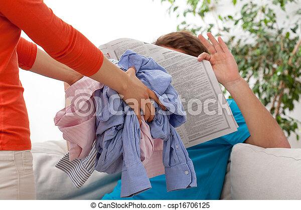 Quarrel of household duties - csp16706125