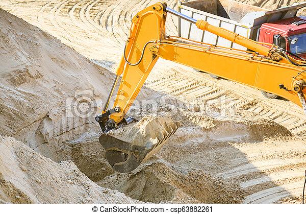 quarry., sable, travail, camion, excavateur - csp63882261