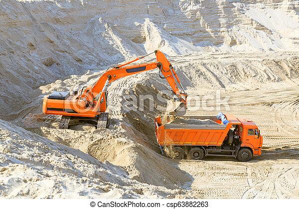 quarry., sable, travail, camion, excavateur - csp63882263