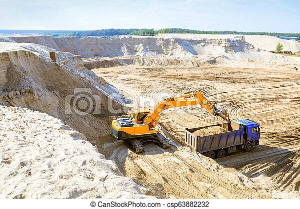 quarry., sable, travail, camion, excavateur - csp63882232