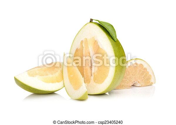 quartal, freigestellt, pomelos, vier, hälfte, weißes - csp23405240