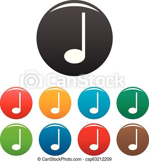 Quarter music note icons set color - csp63212209