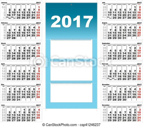 Quarterly Wall Calendar For  Template Grid Vector  Vectors