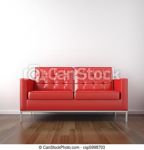 quarto branco, vermelho, sofá - csp5998703