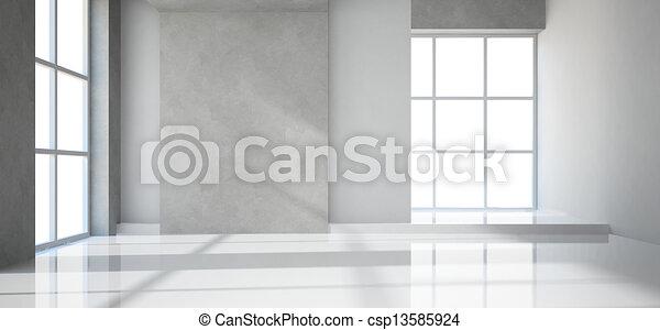 quarto moderno, vazio - csp13585924
