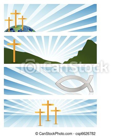 quatre, bannières, illustration religieuse - csp6626782