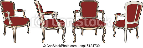 quatre, chaises, style - csp15124730
