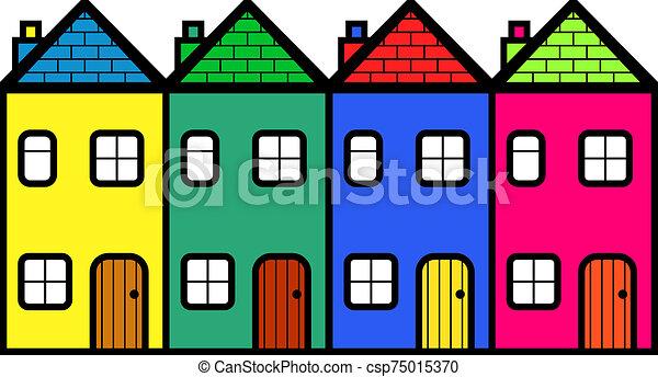 quatre, communauté, logement, coloré, dessin animé - csp75015370