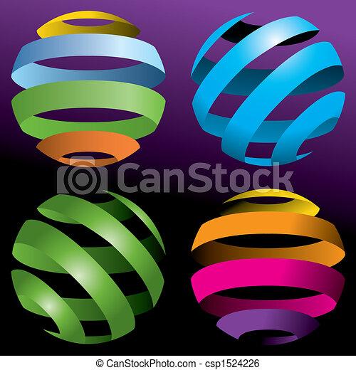 quatre, globes, résumé, vecteur - csp1524226