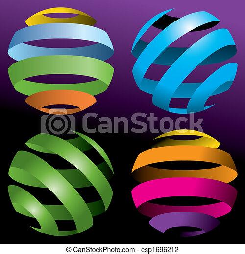quatre, globes, vecteur - csp1696212