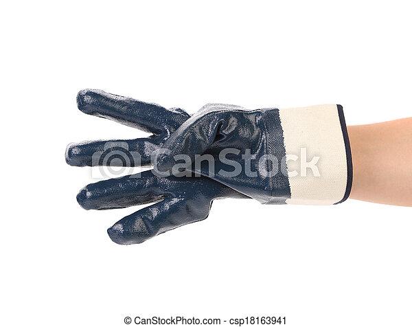 quatre, gloved, doigts, pointage, main - csp18163941