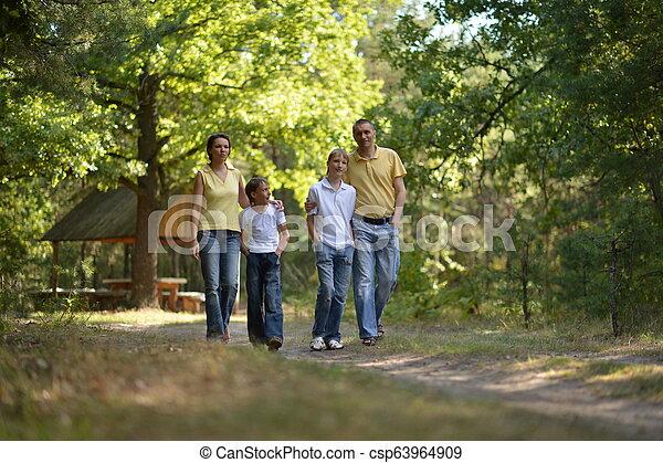 quatre, marche, famille, parc, automne, portrait, heureux - csp63964909